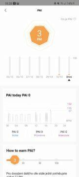 Zepp aplikace PAI