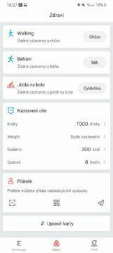 Zepp aplikace zdraví
